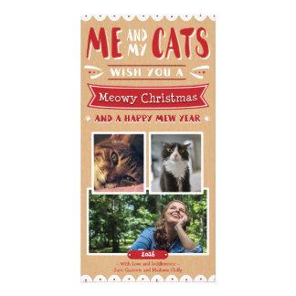 Ich und meine Fotokarte des Katzen-Weihnachten4x8 Karte