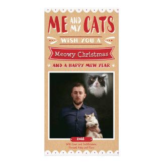 Ich und meine Katzen-WeihnachtsFotokarte (1 Bild) Karte