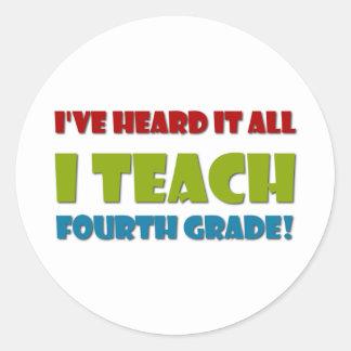 Ich unterrichte vierten Grad Runder Aufkleber