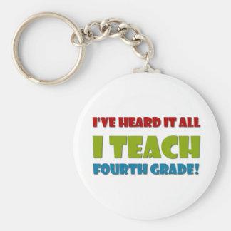 Ich unterrichte vierten Grad Standard Runder Schlüsselanhänger