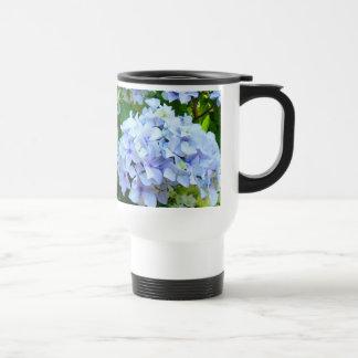 Ich war hier Kaffee-Tasseblaue Hydrangeas-Blumen