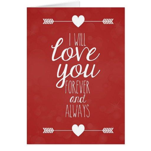 Ich werde Liebe Sie für immer und immer niedliche Karte