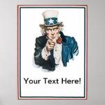 Ich will, das Sie, addieren Uncle Sam Ihren besond Poster