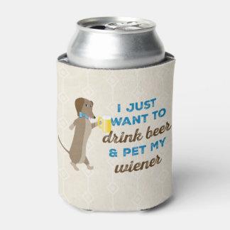 Ich will gerade, um Bier zu trinken u. pet meine Dosenkühler