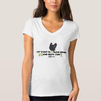 Ich will gerade, um Hühner anzuheben und Material T-Shirt