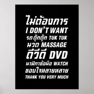 Ich will nicht TUK TUK UHR MASSAGE-DVD danke Ihnen Poster