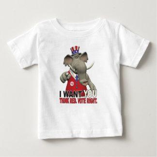 Ich will Sie - denken Sie rotes Abstimmungs-Recht Baby T-shirt