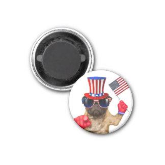 Ich will Sie, Mops, Uncle Sam Hund, Runder Magnet 2,5 Cm