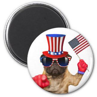 Ich will Sie, Mops, Uncle Sam Hund, Runder Magnet 5,7 Cm