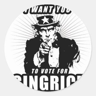 Ich will Sie, um Gingrich zu wählen Runder Aufkleber