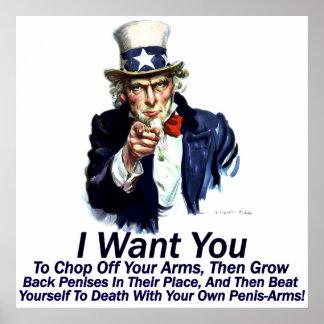Ich will Sie:  Zu Ihr Arm-Plakat weg hacken Poster