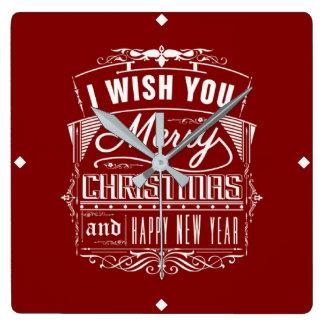 Ich wünsche Ihnen frohen Weihnachten und ein guten Quadratische Wanduhr