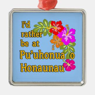 Ich würde eher bei Pu'uhonua O Honaunau, Hawaii Quadratisches Silberfarbenes Ornament