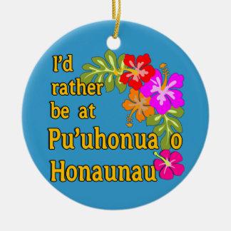 Ich würde eher bei Pu'uhonua O Honaunau, Hawaii Rundes Keramik Ornament