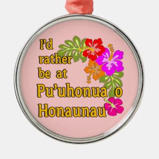 Ich würde eher bei Pu'uhonua O Honaunau, Hawaii Rundes Silberfarbenes Ornament
