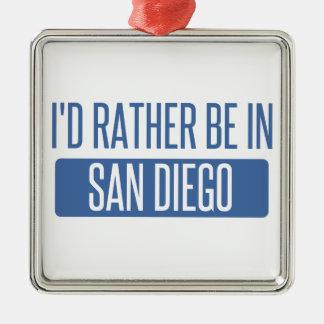 Ich würde eher in San Diego sein Quadratisches Silberfarbenes Ornament