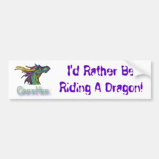 Ich würde vielmehr einen Drachen reiten! Autoaufkleber