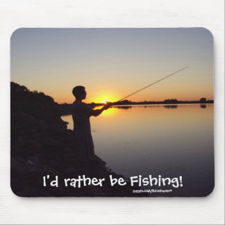 Ich würde vielmehr fischen! Sonnenuntergang Mousepad