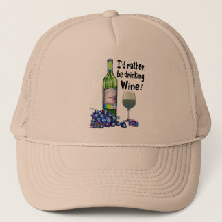 Ich würde vielmehr Wein trinken! Humorvolle Truckerkappe