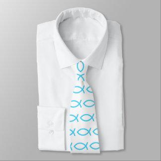 Ichthus | blaues christliches Fisch-Symbol Krawatte