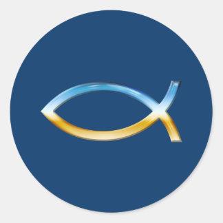 Ichthus - christlicher Fisch-Symbol-Himmel u. Runder Sticker