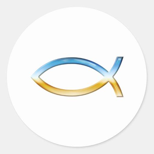 Ichthus - christlicher Fisch-Symbol-Himmel u. Bode Runder Aufkleber
