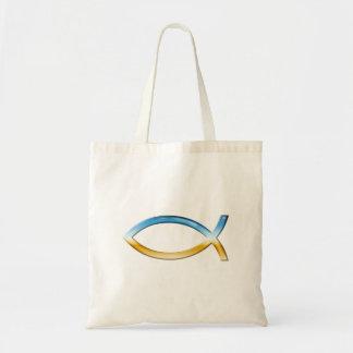 Ichthus - christlicher Fisch-Symbol-Himmel u. Bode Budget Stoffbeutel