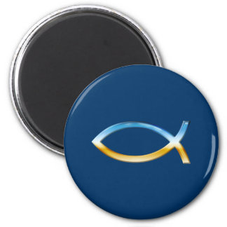 Ichthus - christlicher Fisch-Symbol-Himmel u. Bode Runder Magnet 5,1 Cm