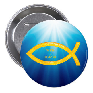 Ichthus - christliches Fisch-Symbol - kleine Runder Button 7,6 Cm