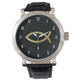 Ichthus - christliches Fisch-Symbol - kleine Uhren