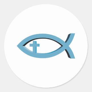 Ichthus - christliches Fisch-Symbol mit Kruzifix Runder Aufkleber