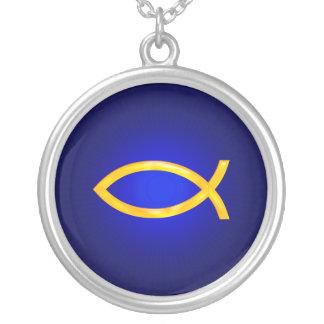 Ichthus - christliches Fisch-Symbol Versilberte Kette