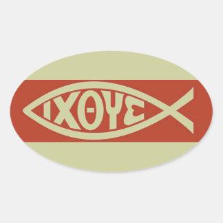 Ichthys christliches Fisch-Symbol Ovaler Aufkleber