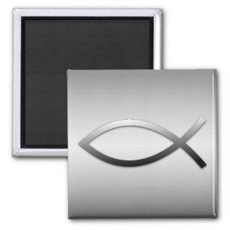 Ichthys Jesus Fisch-christliches Symbol Quadratischer Magnet