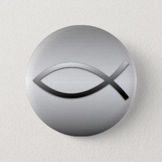 Ichthys Jesus Fisch-christliches Symbol Runder Button 5,7 Cm
