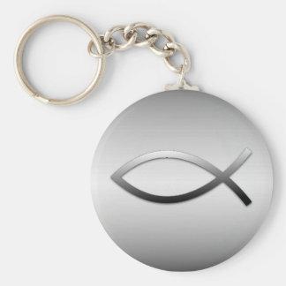 Ichthys Jesus Fisch-christliches Symbol Standard Runder Schlüsselanhänger