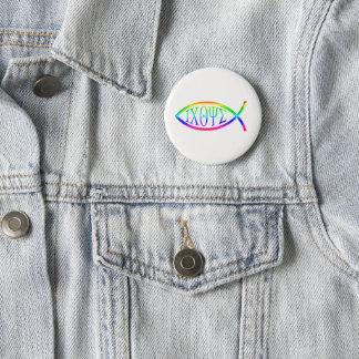 ICHTYS christliches Fisch-Symbol Runder Button 5,1 Cm