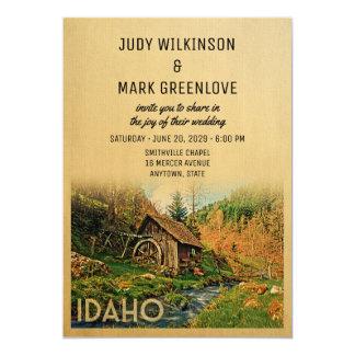 Idaho-Hochzeits-Einladungs-rustikale Kabinen-Mühle Karte