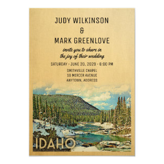 Idaho-Hochzeits-Einladungs-Vintage Natur Karte