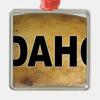 Idahoeuroart-ovale Auto-Abziehbild-Kartoffeln Quadratisches Silberfarbenes Ornament