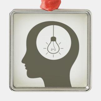 Idee in einem Kopf Silbernes Ornament