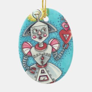 IDEEN-MÄDCHEN-ROBOTER-VERZIERUNG Oval Keramik Ornament