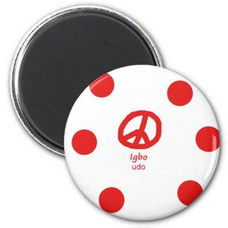 Igbo-Sprache und Friedenssymbol-Entwurf Runder Magnet 5,7 Cm