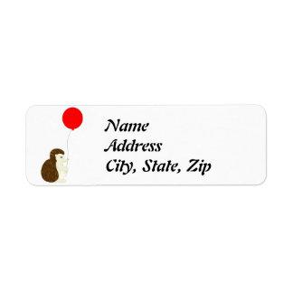 Igel mit Ballon-Adressen-Etiketten Kleiner Adressaufkleber