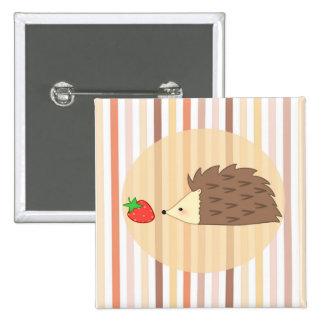 Igel und Erdbeere Quadratischer Button 5,1 Cm
