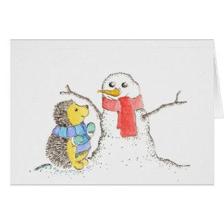 Igel und Snowman Karte