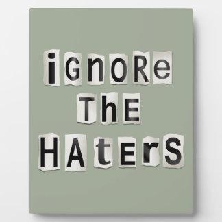 Ignorieren Sie die Haters. Fotoplatte