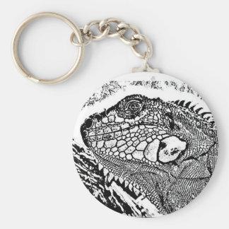 Iguana black/white keychain