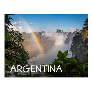 Iguazú Wasserfälle mit Regenbogen, Argentinien Postkarte