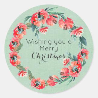 Ihnen ein frohe Weihnacht-Rot-Blumenmuster Runder Aufkleber
